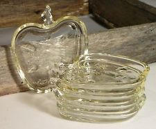 Vtg/Hazel Atlas/ORCHARD Collection/APPLE Shaped/Clear Glass/Drink Coasters/ 5