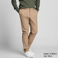 Our sleek and stylish chinos with stretch for superb comfort.- Smooth, high-density chino material with a premium brushed feel.- Excellent stretch for easy movement.- One of UNIQLO's most versatile designs, these pants are a true wardrobe esse Chinos Slim Fit, Slim Pants, Uniqlo, Grey Chinos, Men's Chinos, Business Casual Attire, Business Formal, Professional Attire, Mens Chino Pants