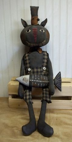 Primitive Grungy Big Black Kitty Cat Halloween Doll & His Fishbones #NaivePrimitive
