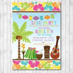 Luau Party Invitation Hawaiian Birthday Party Invite 5x7 digital