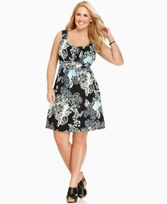 Style&co. Plus Size Floral-Print Twisted-Waist Dress Dressy Dresses, Elegant Dresses, Nice Dresses, Casual Fall Outfits, Chic Outfits, Plus Size Dresses, Plus Size Outfits, Dresser, Plus Size Fashion For Women