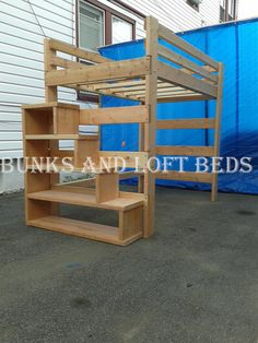 Length-84 in. Width-65 in. Height-69 in. Color •Natural Wood Tone Weight Capacity •1000lbs •For additional weight capacity extra slats will need to be purchased Make •Hand made Make use of Limited space in your room with a queen heavy duty Loft Bed made from unfinished Douglas