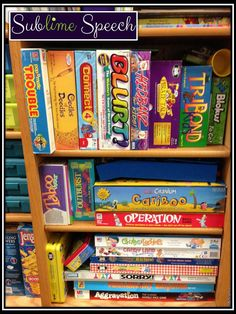 "Sublime Speech: ""Games"" and Speech/Language Therapy-games used in therapy, how they are used, and what they target. Pinned by SOS Inc. Resources. Follow all our boards at pinterest.com/sostherapy for therapy resources."
