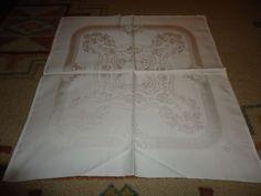 """Vintage Set of 6 Damask Dinner Napkins.  22"""" X 21"""".  Monogram. Floral."""