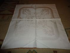 "Vintage Set of 6 Damask Dinner Napkins.  22"" X 21"".  Monogram. Floral."