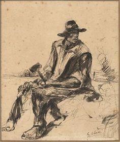 """Lorenzo Viani (Viareggio 1882– Ostia 1936), """"Cavatore"""" (recto); Uomo seduto (verso). pen and India ink, pencil Size: 27.5 x 23.4 cm. (10.8 x 9.2 in.) View past auction results for LorenzoViani on artnet (recto); Uomo seduto (verso) Medium: pen and India ink, pencil Size: 27.5 x 23.4 cm. (10.8 x 9.2 in.)View past auction results for LorenzoViani on artnet"""