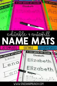 Name Practice Mats Editable Kindergarten Name Practice, Preschool Kindergarten, Kindergarten Readiness, 1st Grade Activities, Name Activities, Writing Activities, Classroom Resources, Teaching Resources, Classroom Hacks