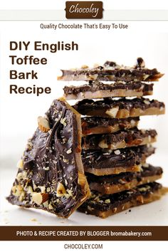 Homemade English Toffee Chocolate Bark Recipe This easy and traditional DIY toffee is made with the best dark chocolate walnuts and almonds and is gluten free A delicious. Toffee Bark, Almond Toffee, Chocolate Almond Bark, Chocolate Toffee, Chocolate Recipes, Chocolate Nuts Recipe, Homemade Chocolate Bark, Dark Chocolate Candy, Homemade Toffee