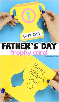Father's Day craft for kids. Super simple paper trophy card kids can make. Diy Father's Day Gifts, Father's Day Diy, Craft Gifts, Kids Fathers Day Crafts, Fathers Day Art, Happy Fathers Day Cards, Diy For Kids, Gifts For Kids, Father's Day Card Template