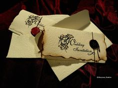 Handwritten letter style- Vintage Old English Wedding Invitations! In 3 languages: english, french and spanish! Hooray for international marriages and friends all over the world!