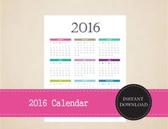 2016 Year At A Glance Full Year Calendar by MBucherConsulting Full Year Calendar, 2016 Calendar, Printable Planner, Printable Calendars, Printables, Monthly Planner 2018, 2018 Year, At A Glance, Trip Planning