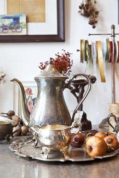 silver tea service wedding centerpiece - Google Search