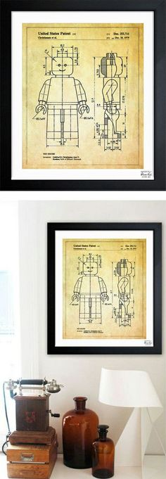 Lego man toy patent framed print // I love how ordinary design objects become art!