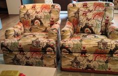 Robert Allen neo toile coral-- maybe for the backs of the living room chairs paired w/ the navy velvet