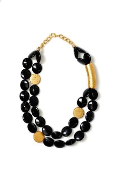 Axel Accessories : ESHOP WOOD.NECKLACE W/BLK AND GOLD BEADS