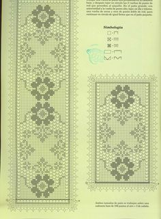 Crochet and arts: Tissues Filet Crochet Charts, Crochet Borders, Crochet Stitches, Crochet Dollies, Crochet Art, Crochet Bedspread, Crochet Tablecloth, Embroidery Patterns, Crochet Patterns