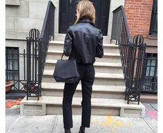 Boxy leather jacket and ankle straight black jeans