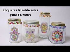 Plasticized Labels for Jars ~ Enjoy Creating Glass Jars, Mason Jars, Jar Labels, Decoupage, Diy And Crafts, Scrapbook, Bottle, Videos, Printing