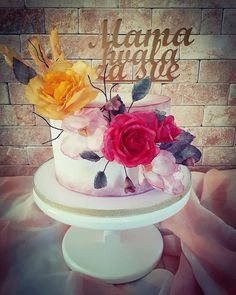 Cake with wafer flowers by Cakes_bytea