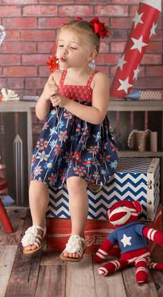 Perfect Little Girls Dress for 4th of July celebrations! Such a cute little Patriot!  #waverlywade