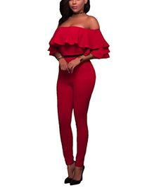 a85dee8ecd4 Womens Sexy Off Shoulder Ruffle High Waisted Long Club Bodycon Jumpsuits  Red M --    AMAZON BEST BUY