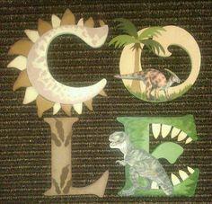 Dinosaur Wooden Letters Dinosaur Wood Letters by KidMuralsbyDanaR