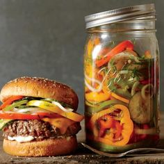 Cheesesteak Burgers with Pickled Peppers, Onions, and Cucumber | CookingLight.com