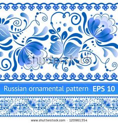 Russian national floral pattern in style Gzhel (a brand of Russian ceramics, painted with blue on white).