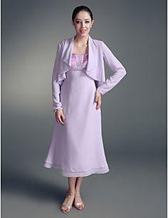 Lanting A-line Plus Sizes / Petite Mother of the Bride Dress - Lilac Tea-length Long Sleeve Chiffon / Stretch Satin