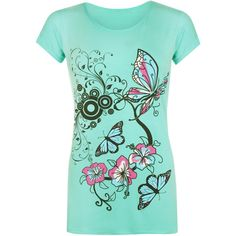 WearAll Samantha Butterfly Print T-Shirt (16 CAD) ❤ liked on Polyvore featuring tops, t-shirts, mint green, plus size short sleeve tops, womens plus tops, butterfly top, short sleeve tops and round neck t shirt