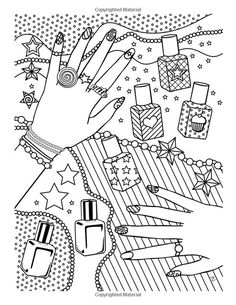 Girl Stuff: 24 Totally Girly Coloring Pages Detailed Coloring Pages, Love Coloring Pages, Coloring Book Art, Doodle Coloring, Coloring Pages For Kids, Kids Colouring, Mandala Coloring, Valentines Day Coloring, Printable Coloring Sheets