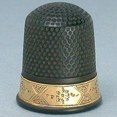 Rare American Antique 14 Kt Gold & Vulcanite Thimble; Circa 1890