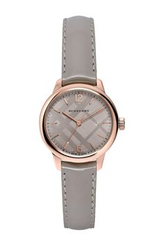 Image of Burberry Women's Classic Round Patent Leather Strap Watch