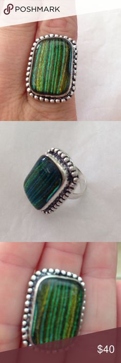 925 Sterling silver dichroic glass ring 💚💙🌟 Gorgeous shine, in this 💯% 925 Sterling silver ring, handmade in vintage style, of dichroic glass in colors of yellow, blue & green stripes💙💚🌟 NWOT size 7.5 Hand made Jewelry Rings