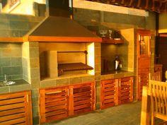 PERGOLAS Y QUINCHOS Backyard Kitchen, Backyard Patio, Built In Braai, Blessed Mother, Patio Design, Bbq, Building, Outdoor, Furniture