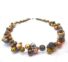 Couleurs mélangées d'eau douce perles collier bruns par deBATjes