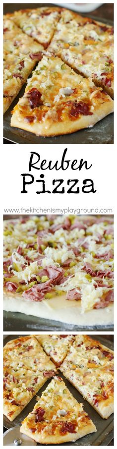 Reuben Pizza ~ enjoy the wonderful flavors of the classic-favorite Reuben sandwich in scrumptious pizza form!   www.thekitchenismyplayground.com