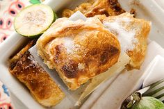 Feijoa strudel recipe, Viva – Cook feijoas with vanilla a little cinnamon brown sugar lemon and a splash of sherry then wrap them in puff pastry and bake to make this strudelampnbspwhich is good with either yoghurt or custard - Eat Well (formerly Bite) Strudel Recipes, Jam Recipes, Fruit Recipes, Sweet Recipes, Dessert Recipes, Cooking Recipes, Pudding Recipes, Homemade Crumpets, Fruit Crumble