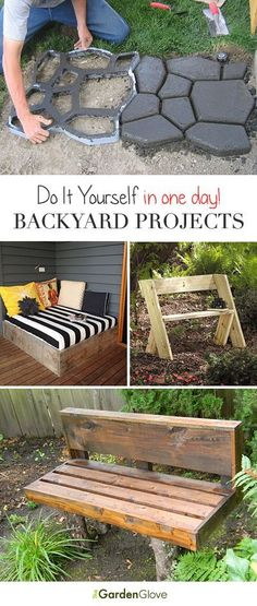 One Day Backyard Projects • Ideas & Tutorials! **We did our whole back patio with the cement paver molds pictured at the top!**