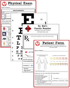 Miss Poppins: Doctor Pretend Play Kit (Free Printable Kit) - Eye chart would be good to use on our sets.