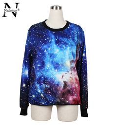 Spring New Fashion Long Sleeve Women sweatshirt 3D Korean Digital Printed Galaxy Blue Print Woman Pullover Clothing Check it out! Visit our store