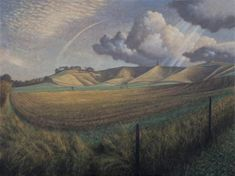 James Lynch Cherhill White Horse Signed Egg tempera on gesso coated wood panel 21 x x Landscape Drawings, Landscape Art, Landscape Paintings, James Lynch, White Horse Painting, Chalk Hill, Uk Landscapes, Mediums Of Art, Fields Of Gold