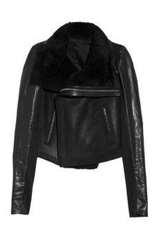 RICK OWENS  Shearling leather biker jacket--looks just like mine that got stolen. Sad.