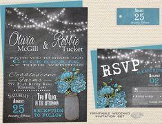 Mason Jar Wedding Invitation, Printable Rustic Wedding Invite, Country Chalkboard Wedding w/ String Lights & Aqua Blue Peony, Summer Wedding