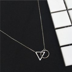New Fashion Korean Exquisite 925 Sterling Silver Jewelry Short Minimalist Triangle Round Resistance To Fade Necklaces H286 //Price: $US $4.13 & FREE Shipping //     #hashtag3