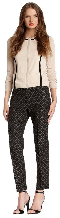 """Nanette LeporeTilework Pant, 2, Black/Camel. Dry clean. 48% polyester, 26% acetate, 26% nylon. Approx. 9"""" rise, 29"""" inseam. Imported."""