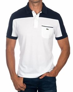 Polo Lacoste Blanco & Marino - Bolsillo Mens Polo T Shirts, Polo Tees, Men's Polo, Camisa Polo, Polos Lacoste, Polo Shirt Design, Athletic Fashion, Sport Outfits, Shirt Style