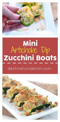 Mini Artichoke Dip Zucchini Boats