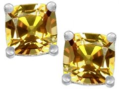 Original Star K(tm) Cushion Cut 7mm Simulated Imperial Yellow Topaz Earrings Studs - http://www.finejewelers.com/jewelry/Created-Imperial-Yellow-Topaz/Earrings/304004.aspx