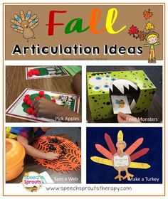 Fall Articulation: Four Fun Ideas for Autumn to keep your kids motivated all season long! Apples, Monsters, Spiders and Turkeys.